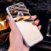 Wholesale gold edge chrome - Soft TPU Mirror Case Electroplating Chrome Ultrathin Cover For iPhone X 8 7 6 6S Plus Samsung S8 S9 Plus Note 8 S7 edge