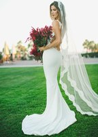 Wholesale Sexy Backless Satin Wedding Dress - Dropped Waist Wedding Dress Satin Sexy Simple Mermaid Bride Dresses Low Backless Lace Court Train Trumpet Outdoor Bridal Gowns Modest Design