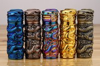 Wholesale lighters dragons - Fashion Metal Electronic USB Lighter Cylindrical Rechargeable Lighter Windproof Dragon Pattern Cigar Cigarette Lighter