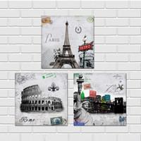 Wholesale Bridge Life - Free shipping 3 Pieces unframed Canvas Prints Elizabeth tower Liberty goddess Eifel Pisa Colosseum high-heeled shoes flower Tower Bridge