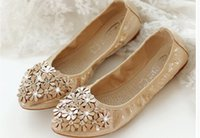 Wholesale Shoes For Pregnant - The new 2016 summer rolls for women's shoes pointed diamond flower sweet soft light mouth big yards of pregnant women with flat shoes