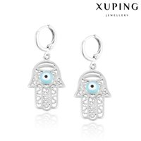 Wholesale Xuping Hollow Hamas Hand Charm Earrings Mysterious Evil Eye Copper Dangle Ear For Halloween Party Decoration Jewelry DH K0005
