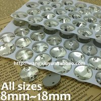 Wholesale 18mm Round Flatback Glass - 8mm,10mm,12mm,14mm,16mm,18mm round Rivoli Sew On stones Crystal clear color flatback 2 holes glass sewing beads