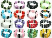 colar bead moda bonita venda por atacado-10 pçs / lote bela mulher mista moda magnética genuína hematita beads strands para pulseira colar tornozelos presente
