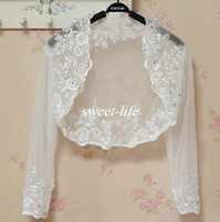 Wholesale Champagne Lace Wedding Shawl - White Ivory Illusion Long Sleeve Wedding Bridal Wrap Jackets Vintage Lace Applique Beaded 2017 Cheap Sheer Bolero Wrap for Wedding Bride