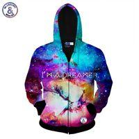 Wholesale Galaxy Print Jackets - Hip Hop I AM A DREAMER space galaxy zipper jacket for men women 3d sweatshirt autumn hoody hooded hoodies Asia size S-XXL