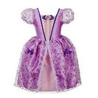 Wholesale Purple Dress Girl Age - New Elegant Age 2-10 yrs Princess Girls Cinderella Dress Children Clothing Princess Dress Rapunzel Kids Cosplay Costume Clothes DK1035CR