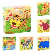 Vente en gros - 6 côtés Colorful Wisdom Jigsaw Puzzle enfant Cartoon en bois Cartoon Toys Toys Early Education Jeu parent-enfant MPT003