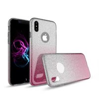 Wholesale Wholesale Hybrid Iphone Glitter - Hybrid Gradient glitter powder Color Cover 3 in 1 TPU+PC Colorful Case For Iphone 8 7 6 Plus ZTE zmax Pro LG Stylus2 Samsung Note 8 S8 Plus