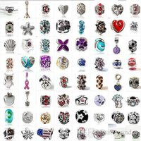 Wholesale Rhinestone Letters Charms - Fashion 925 Silver Mix Pandora Style European Big Hole Loose Beads Crystal Rhinestone for Snake safety chain Fit DIY Charm Bracelet Jewelry