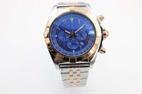Wholesale Time Zone Wrist Watches - Brel Quartz Wrist watch Blue Dial 45 mm Sapphire glass Original clasp 1884 free shipping HK