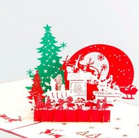 Wholesale Handmade Lover Greetings - Christmas Eve 3D laser cut paper pop up handmade postcards custom greeting cards gifts for lover party supplies