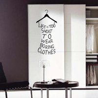 Wholesale Wall Decals Hanger - 2016 Life Is Too Short Words Quote Clothes Hanger Home Room Art Vinyl Wall Decals free shipping