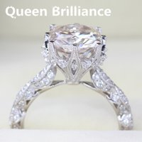 Queen Brilliance Genuine 14k 585 White Gold 5 Carat Cushion Cut Engagement Mariage Lab Grown Moissanite Diamond Ring pour femmes 17903