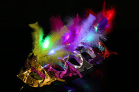 Wholesale Butterflies Card - LED Butterfly Masks Sequined Party Mask Halloween Led Party Mask Adult Kids Venetian Luminous Fluff Mask Christmas Flash Masquerade Masks