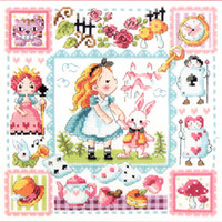 Wholesale Counted Cross - Needlework DIY Cross Stitch Sets For Embroidery Kits No Printed Alice in Wonderland Counted Cross Stitch