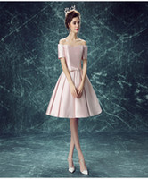 Wholesale Silk T Shirts For Women - Beautiful Short Bridesmaid Gowns Lovely A-Line Satin Evening Dresses Elegant Formal Wear Pink for Women Custom Made Celebrity Dresses