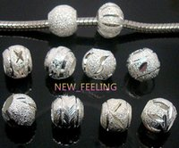 Wholesale 100pcs mixed Round Silver Aluminun Beads for Jewelry Making Loose Charms DIY Hole Beads for European Bracelet in Bulk Low Price