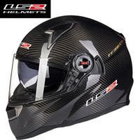 Wholesale Ece Motorcycle Full Face Helmet - Genunie LS2 ff396 carbon fiber full face motorcycle helmet dual visor airbags pump 100% original cascos moto LS2 helmet ECE