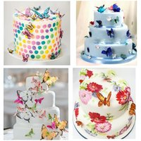 Wholesale Edible Wedding Cake Decorations - 2.3cm Edible Butterfly Cupcake Toppers Wafer Wedding Cake Birthday Cake Food Decoration Cake Tools 20pcs set CCA6945 200set