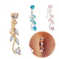 Wholesale Sexy Pierced Ladies - Allergic Free Gold Plated Lovely Leaf Navel Ring Bar Belly Button Rings Piercing Navel Body Jewelry for Sexy Lady