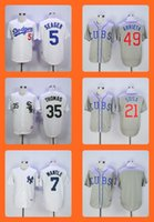 Wholesale Blank Baseball Shirts - 2016 Men's 5 Seager 49 Arrieta 35 Thomas 21 Sosa 7 Mantle Blank Stitched Baseball Jersey Top Quality Drop Shipping Wholesale Shirt