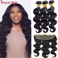 Wholesale Curly Brazilian Remy Hair Closure - Remy Human Hair Extensions Body Wave Hair Bundles with 13x4 Lace Frontal Closure Brazilian Virgin Curly Hair Human Weave with Lace Frontal