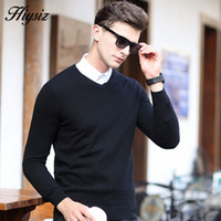 Wholesale Merino Wool Cashmere - Wholesale-HS High Quality Winter Soft Warm Knitted Merino Wool Sweater Men 100% Real Cashmere Sweaters Pure Color V-Neck Pullover Men 6308