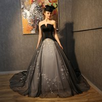 Wholesale Gothic Corset Gowns - 2017 Vintage Gothic Wedding Dresses New Style Sexy Black Strapless White Beaded Embroidery A Line Backless Corset Bridal Gowns Chapel Train