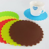 Wholesale Round Table Sizes - Roses round coasters Food grade silicone table mat High temperature resistant insulation pad Multicolor size is 14.3*14.3cm