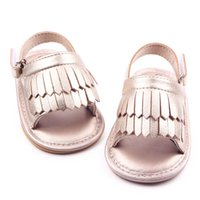 Wholesale Gladiator Fringe Sandals - New Wholesale Hard Sole Baby Tassels Fringe Gladiator Sandals Nubuck PU Leather First Walking Little Girls Wedding Shoes Outdoor Zapatos