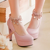 Wholesale Korean Spring Dresses For Sale - Free Shipping 2016 New Stylish Korean Style Women's Black Platform Pumps Chunky Heel Roman Shoes For Sale Pink Beige Green