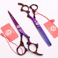 "Wholesale Dragon Handle Scissors - Z9005 6"" JP 440C Pink Gem Purple Dragon Handle Professional Human Hair Scissors Cutting or Thinning Shears Barber""s Hairdressing Style Tool"