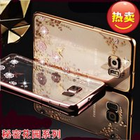 Wholesale Diamond Galaxy Case - Bling Diamond Transparent Clear Flower Secret Graden Pattern Soft TPU Back Cover Case For iPhone 5 6 6S plus Galaxy S7 S6 edge plus Note 4 5