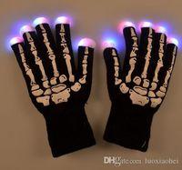 Wholesale Light Up Gloves Fingers - Biker Skull Bone Skeleton Mechanic Glovesl Flash Light Glow Gloves 6 Colors Light Show and Multi-Color LED Light Up Shoelaces Battery Pow