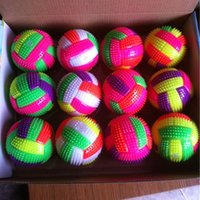 Wholesale Light Up Hedgehog Balls - LED Volleyball Flashing Light Up Color Changing Bouncing Hedgehog Ball Kids Toys For Baby Kid 7.5cm BiBi Sound Random Color Q0147