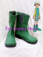 Wholesale Digimon Cosplay - Wholesale-Freeshipping custom-made anime Digimon Adventure Takeru Takaishi Green Cosplay Boots shoes for Halloween Christmas festival