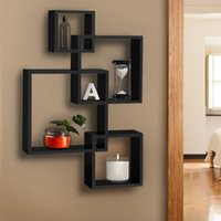"25.5""(L) x 17.5""(W) x 4""(D) black floating wall shelf - Intersecting Floating Shelf Wall Mounted Home Decor Furniture"