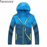 Wholesale Powered Ultralight - Wholesale-Facecozy Men Summer Outdoor Hooded Patchwork Jacket Sun Protective Climbing Jackets Sport Ultralight Breathable Hunting Coat