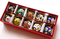 Wholesale Chinese Cloisonne - Collectibles 10pcs  1.57inch Chinese Classic Handmade Cloisonne Christmas Ball Ornaments