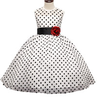 Wholesale Princess Night Gowns - Kids Girl Black Polka Dot Summer Dress Baby Girls Princess Events Party Dress Wedding Gown for Children Clothing Girl 3-10 Years DK1038CR
