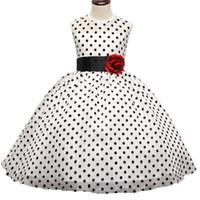 ingrosso neonata del vestito dal puntino nero-Kids Girl Black Polka Dot Summer Dress Neonate Principessa Eventi Party Dress Abito da sposa per bambini Abbigliamento ragazza 3-10 anni DK1038CR
