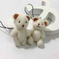 Wholesale Wholesale String Dolls - Retail H=4cm Cute Plush Mini Joint Bear Bare Teddy Bear With String For Key Chain Phone Bag Stuffed Rag Dolls 100PC