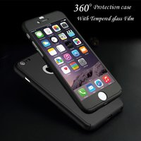 Wholesale Purple Screen Protector - Ultra-thin 360 Degree Full Cover Protective Case with Tempered Glass Screen Protector for iPhone 7 7plus 6 6S 6Plus 5S