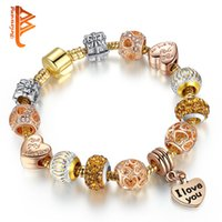 BELAWANG Hot Sell European Style Rose Gold Charm Bracelet Heart Shape