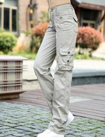 Wholesale Women S Fitted Cargo Pants - Women Khaki Cargo Pants 2016 Military Style Multi-Pockets Straight Fit Outdoors Pants Free Shipping