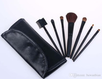 Wholesale Brush Free Number - Wholesale-wholesale New Cosmetics MC 7Pieces  set Brush Set With number + leather Pouch for women beauty free shipping