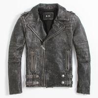 Wholesale Men Leather Jacket Diagonal Zipper - 2017 New Men Vintage Black Leather Biker Jacket Diagonal Zipper Genuine Cowhide Short Slim Fit Men Motorcycle Coat FREE SHIPPING