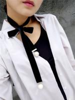 Wholesale black pearl choker - Choker Necklaces Bohemia 2016 New Long Wool Velvet Black and White Punk Choker Collar Necklace Long big Pearl Pendant Velvet Chokers