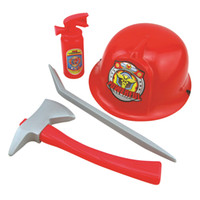 Wholesale Plastic Toy Fire Extinguisher - Wholesale- Fireman Costume Firefighter Role Play Boys Toy Hat Axe Crowbar Fire Extinguisher Set
